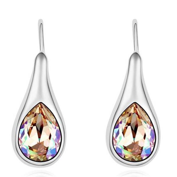 Strass cristal de Swa gouttes d'eau Boucles d'oreilles bijoux de mode pour femmes Party Femme anniversaire or blanc cadeau plaqué 15733