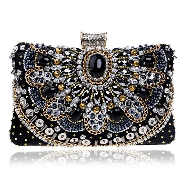Elegant Ladies Evening Clutch Bag with Chain Diamond Crystal Stone Shoulder Bag Women's Handbags Purse Wallets for Wedding