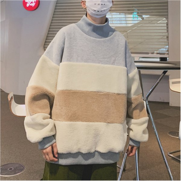 2019 Winter Men's Thickening Lamb Pullover Casual Stripe Printing Hoodies Cotton Clothes Coats Oversized Sweatshirts Size M-XL T191108
