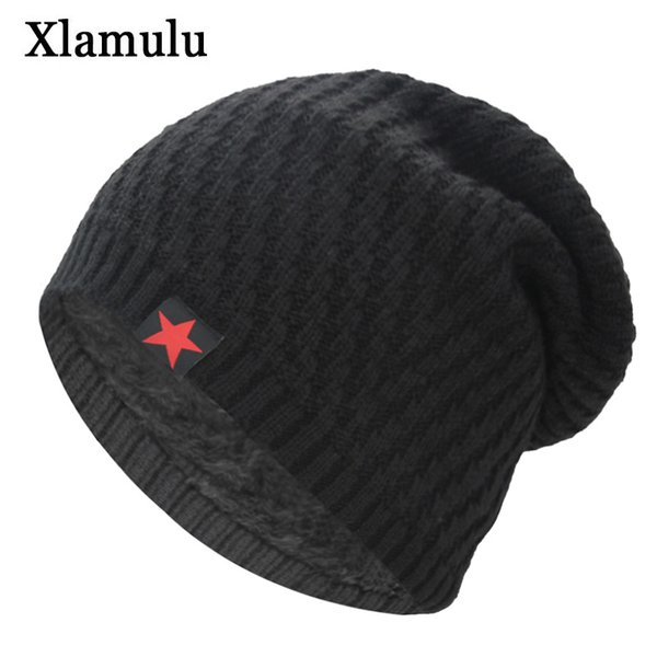 Xlamulu Skullies Beanies Knitted Hat Winter Hats For Men Women Beanie Warm Baggy Male Gorros Bonnet Caps Thicken Mask Skullies