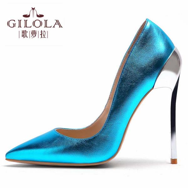 Tacchi 12cm 6 colori sexy di alta moda Tacchi Scarpe a punta donne della piattaforma delle pompe Scarpe Donna Oro Argento # Y0313972Q