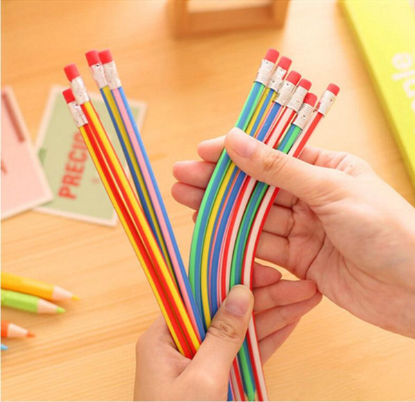 Wholesale cheap price high quality soft lead plastic pencils 12 colos stripes pencil with red erazer for gift playing testing
