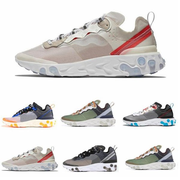 t20 2019 New React Element 87 Mens Womens High Quality Fashion Designer Sail Light Bone Signal Blue Green Mist Electric Yellow Casual Shoes