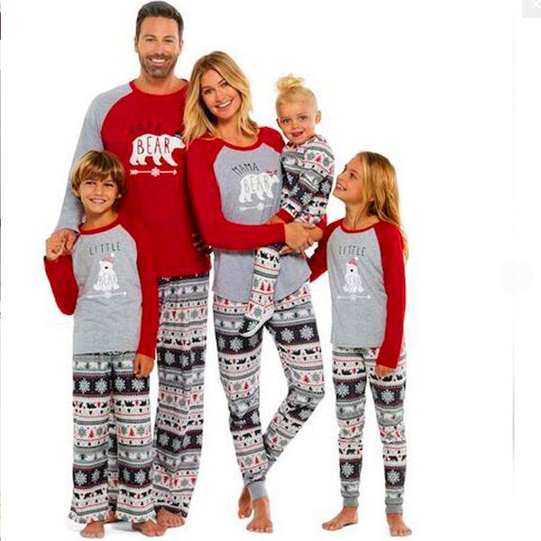top popular Family Christmas Pajamas Set Family Matching Outfit Mother Father Kid Clothes Bear Printed Costumes Kids Nightwear 2019