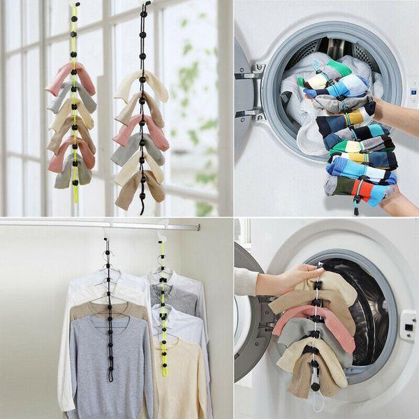 top popular Home Socks Hanging Rope Creative Multi-function Washing Clothes Basket Net 2019