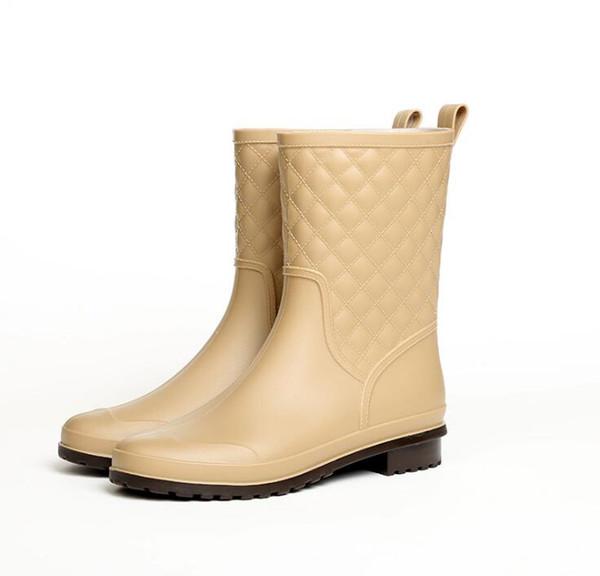 2019 winterstiefel marke design Stiefel Regen Stiefel Schuhe Frau Vollgummi Wasserdichte Wohnungen Mode Schuhe