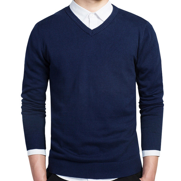 Cotton Sweater Men Long Sleeve Pullovers Casual V-Neck Solid Color Knitted Sweaters Tops Men Plus Size Slim Navy Sweater 3XL
