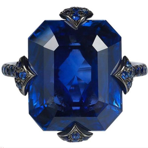 Mavi Yüzük Boyutu 5-12 Moda Takı 18 K Siyah Altın Kaplama Cz Kadınlar Düğün Zirkon Yüzük Hediye # 162