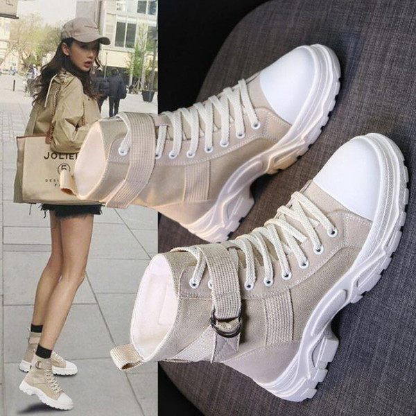martin boot girl 2019 new winter sport booties web celebrity sport booties women's round toe lace-up motorcycle boots casual sneakers -18