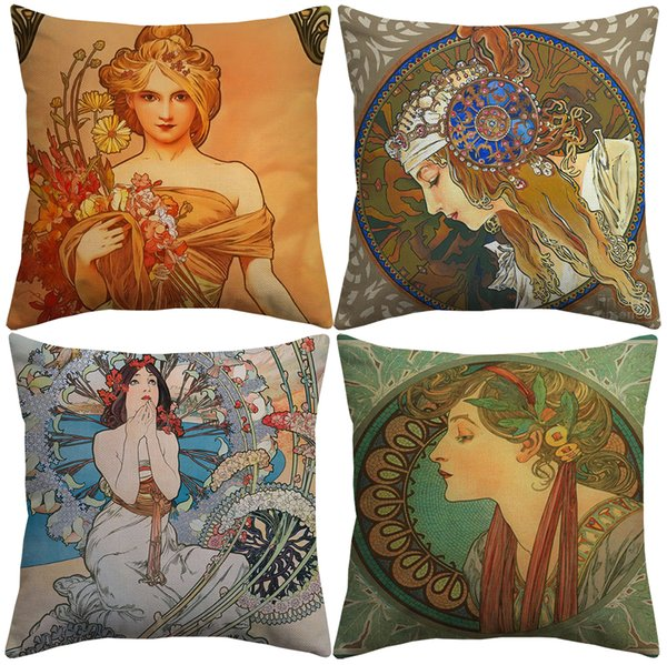 best selling 6 Styles Vintage European Art Nouveau Mucha Gallery Cushion Covers Beautiful Girls Cushion Cover Sofa Throw Decorative Linen Pillow Case