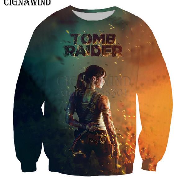 Homens da moda / jogo Mulheres Tomb Raider Líder lady Lara Croft 3D Impressão Camisola Hoodies Tops Pulôver Y21