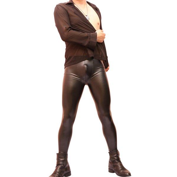Ücretsiz kargo Baştan çıkarıcı seksi erkekler sıkı deri pantolon moda alt pantolon taklit lateks su geçirmez kemer-vücut pantolon Siyah