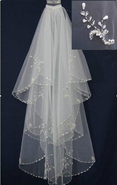New Handmade beaded Beads Pearl White/Ivory 2T Wedding Bridal Veil with Comb Headwear