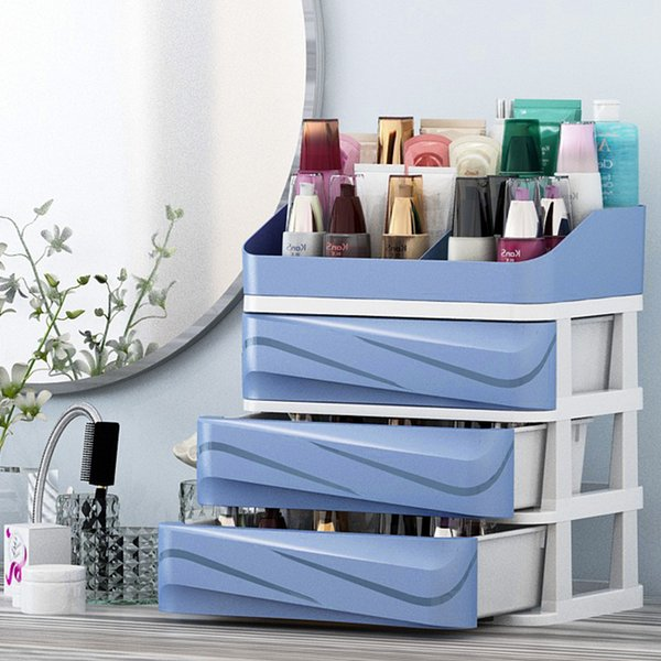 Plastic Cosmetic Organizer Drawer Makeup Organizer Box Storage With Holder Container For Tablets Office Sundry Storage