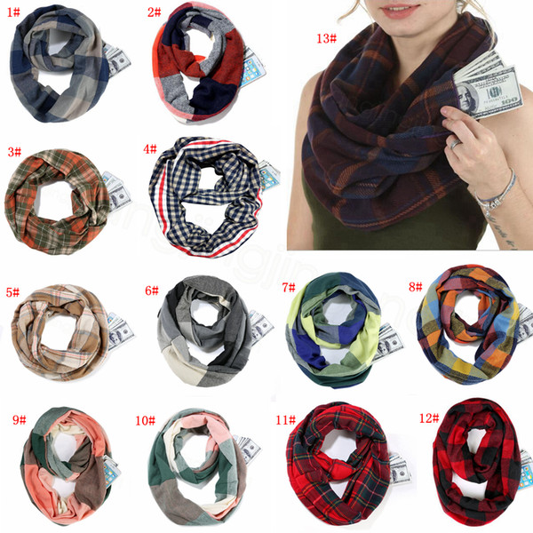 Plaid Infinity Scarf Travel Winter Ring Oversized Girls Check Loop Wraps Zipper Pocket Scarves Grid Lattice Shawl Pashmina Neckchief FFA3423