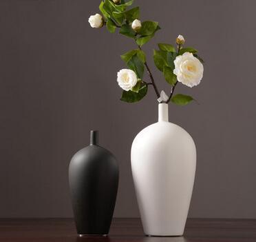 Japanese Zen ceramic dried flower vase decoration black and white creative living room table flower arranger home soft decoration
