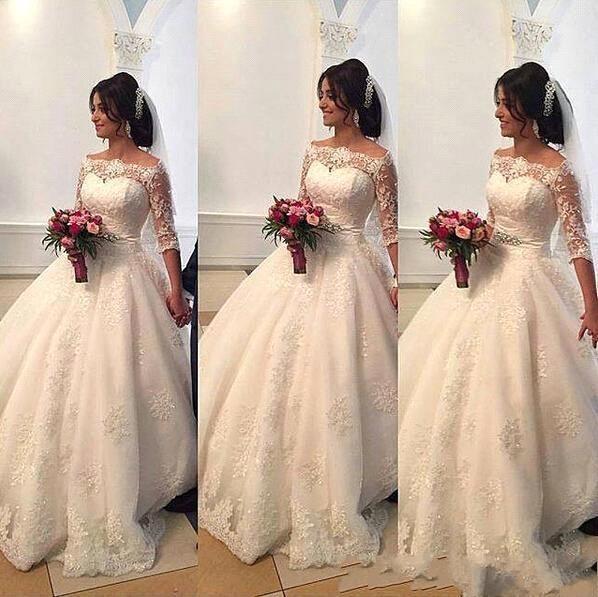 2017 Boncuklu Dantel Arapça Gelinlik Bateau Yarım Kollu Balo Gelin Elbise Prenses Gelinlikler Resmi Düğün Için Elbiseler BA311