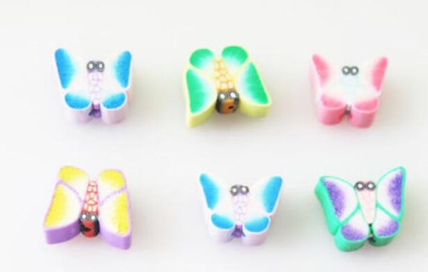 Mixed Color Polymer Fimo Clay Butterfly Flat Spacer Beads Charm For Jewelry Finding Making Bracelet Jewelry Accessories NEW DIY