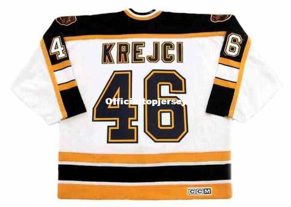 Maillot de hockey rétro pour hommes DAVID KREJCI Bruins 2006 CCM Vintage Away Vintage pas cher