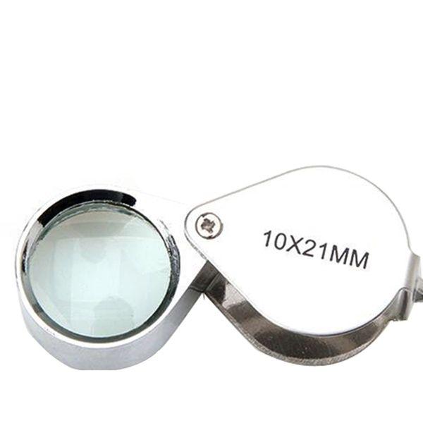 Gümüş 10X21 Mm Büyüteç Büyüteç Cam Kuyumcular Göz Katlanabilir Takı Döngü Büyüteç İzle Onarım Aracı