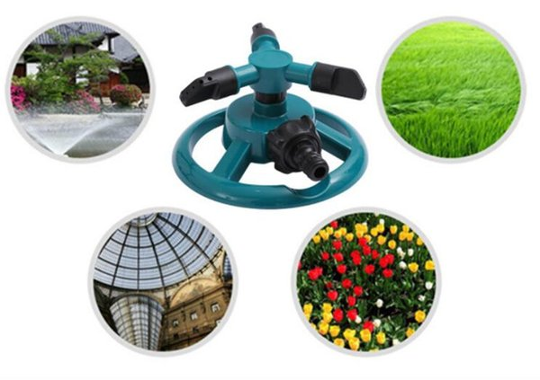 New Patio Garden Sprinklers Automatic Watering Grass Lawn 360 Degree Fully 3 Nozzle Circle Rotating Irrigation System