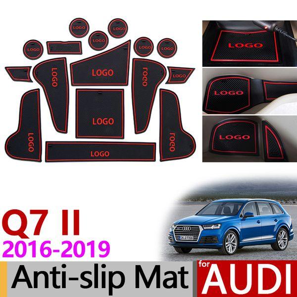 For Audi Q7 2016 - 2019 MK2 4M Anti-Slip Rubber Mats Cup Cushion Door Groove Mat Sline S Line 2 Accessories Car Stickers