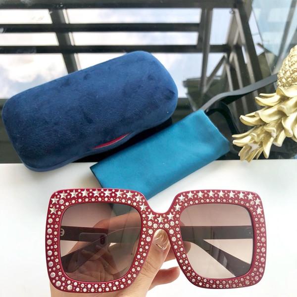 0148 Lunettes de soleil pour les femmes Limited Edition Sparkling diamant Designer Cadre Protection UV Lunettes de soleil Populaire Top qualité Fashion Style Été