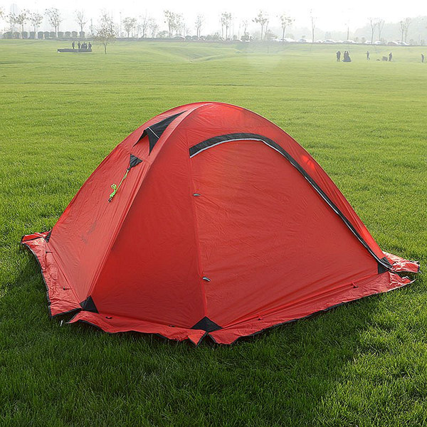 Hillman 20D Silicone Fabric Ultralight 2 Person Camping Tent With Snow Skirt Double Layers Aluminum Rod Hiking Tent 4 Season