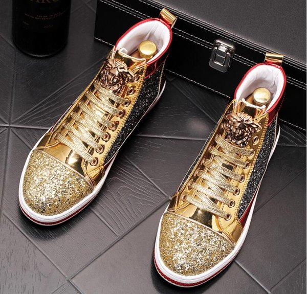 High Quality Fashion Men High Top British Style gold shiny Shoes Mens Causal Luxury Shoes White Bottom rubber Shoes for Male Loafers