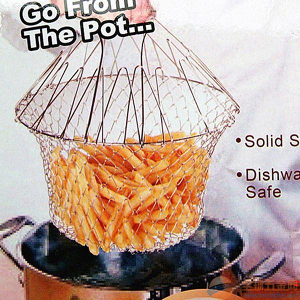 In acciaio inox 1 pezzi Frying Basket pieghevole risciacquo a vapore Strain Mesh Basket Strainer Net strumento di cottura