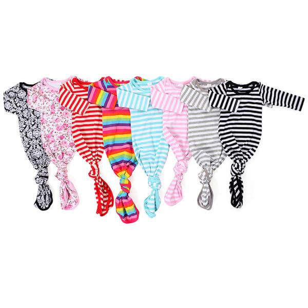 Neugeborenes Baby Kleidung Boutique Schlafsäcke Floral Striped Printed Infant Baby Kleid mit Knoten Langarm Nachtwäsche