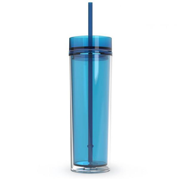 Multi color in stock 16 oz Bicchiere Acrilico Colorato Bicchiere Bicchiere Bicchiere Bicchiere Acrilico Chiaro a doppia parete con paglietta color paglia