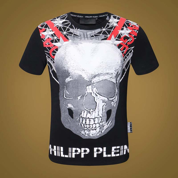 19ss men's high fashion skull print brand designer 2019 diamond t-shirt ring skull# funny t-shirt men's casual beads T-shirt men pp3