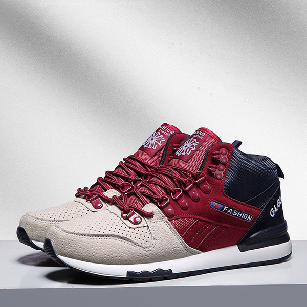 High Top Sports Shoes Mens Sneakers Breathable Anti-skid Running Shoes for Men Shockproof Walking Jogging Shoes Outdoor Trainers
