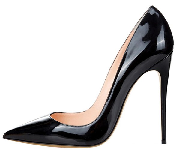 Bombas de couro de luxo designer 12cm multicolors dedo apontado saltos elevados vermelhos tamanho grande sapatos senhora de fundo