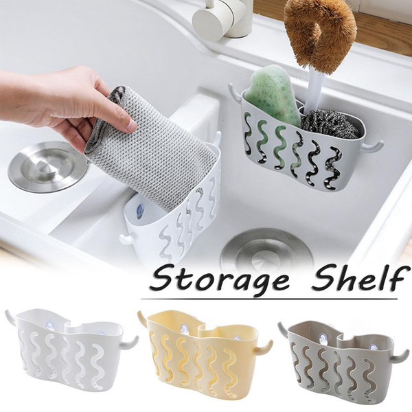 Hole-free Suction Cup Storage Hanging Basket Faucet Dish Washing Sponge Drain Basket for Bathroom Kitchen