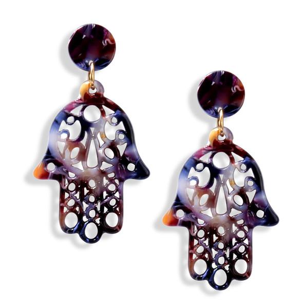 Vintage Hollow Hamsa Hand Fatima Palm Earrings Boho Acrylic Acetate Plate Dangle Earrings Bohemian Jewelry for Women Party Gift