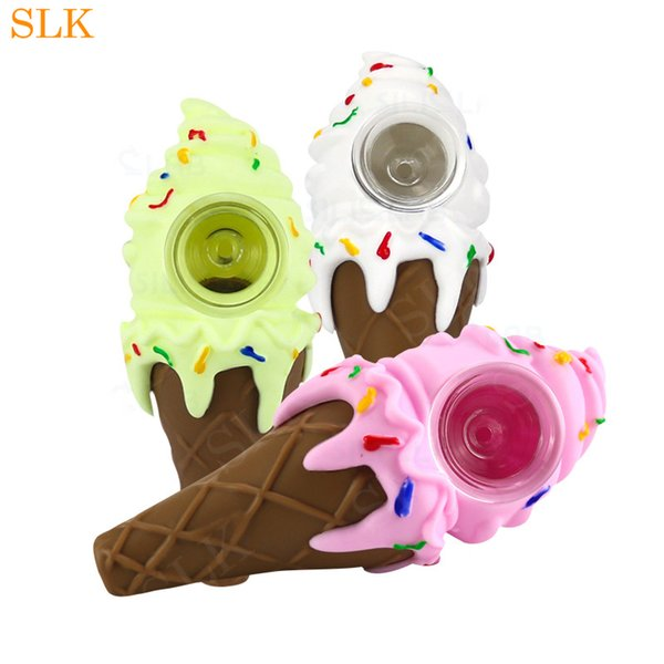 Delicious ice cream shape silicone bong 4.30inch box packing sweet cone glass smoking pipe platinum cured silicone blunt hand pipes