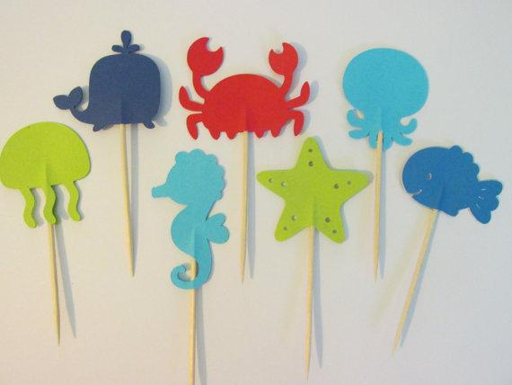 under the sea Cupcake Toppers, Nautical appetizer pick party baby bridal shower birthday ocean wedding cake t Secret Garden Party Decoration