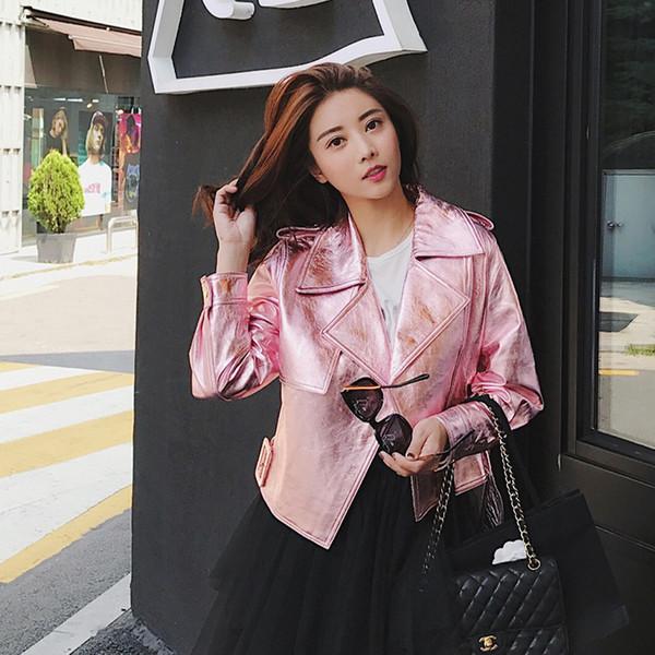 Lederjacke Frauen Frühling Herbst Schaffell Echtes Leder Jacke Korean Pink Jacken Streetwear Chaqueta Mujer QBL-10 YY634