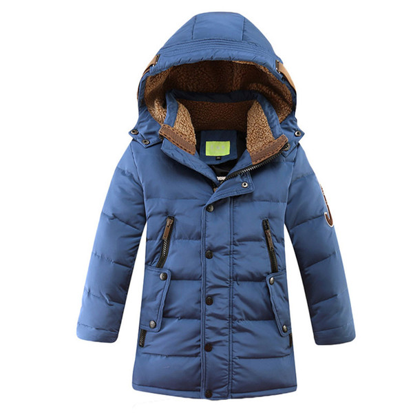 Retail 2018 Winter New Boys Fashion Down Coats Children Long Jacket Thicken Outdoor Warm Hooded Kids Parkas Windproof Outerwear