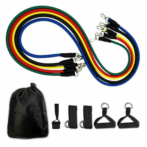 best selling US Stock 11pcs set Pull Rope Fitness Exercises Resistance Bands Latex Tubes Pedal Excerciser Body Training Workout Elastic Yoga Band
