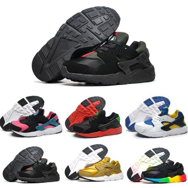 Designer Air Huarache V1 Kids Running Shoes Portable Children Athletic Boys Girls Sports Shoes Baby Training Sneakers Black White Red Blue