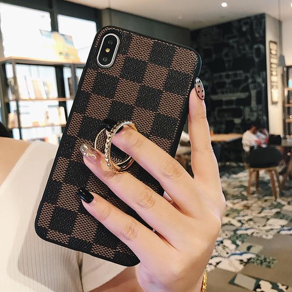 Una pieza de lujo de la PU del anillo de cuero de apoyo cajas del teléfono para iPhone XR XS MAX 8 7 Plus 6S híbrido TPU caso de la contraportada