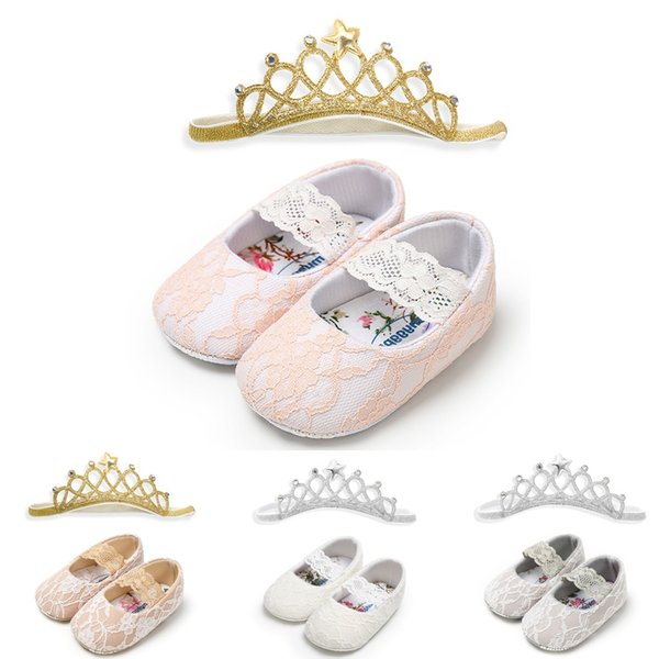 Baby Girls Lace Shoes With Crown Hairband Cuty Toddler First Walkers Kid Shoe Kadin Ayakkabi Claquettes Femme Chaussure
