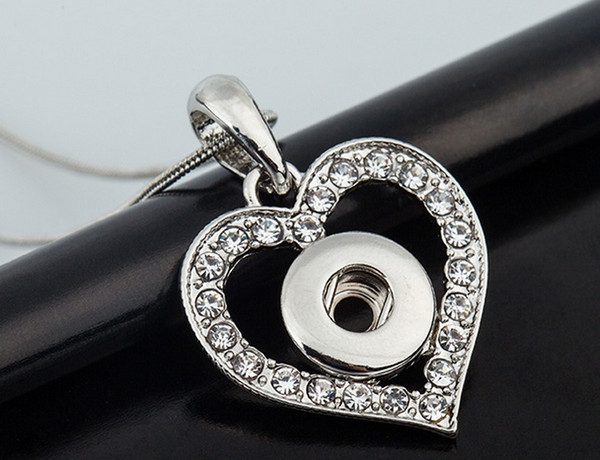 Wholesale Interchangeable Snap Button Noosa DIY Pendant Fit 12mm Charm Ginger Snap Jewelry White Rhinestone Heart Necklace Accessory C118L F