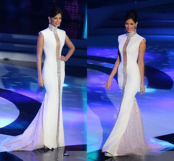 Miss Universe Pageant Evening Dresses Long White High Neck Beaded Crystals Cap Sleeve Tulle Stain Mermaid Celebrity Gowns Formal prom dress