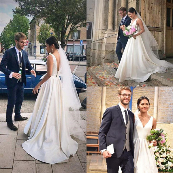 Classic Aline Wedding Dresses with V-neck and V-back Satin Train Bridal Gowns Custom Made vestidos de noiva