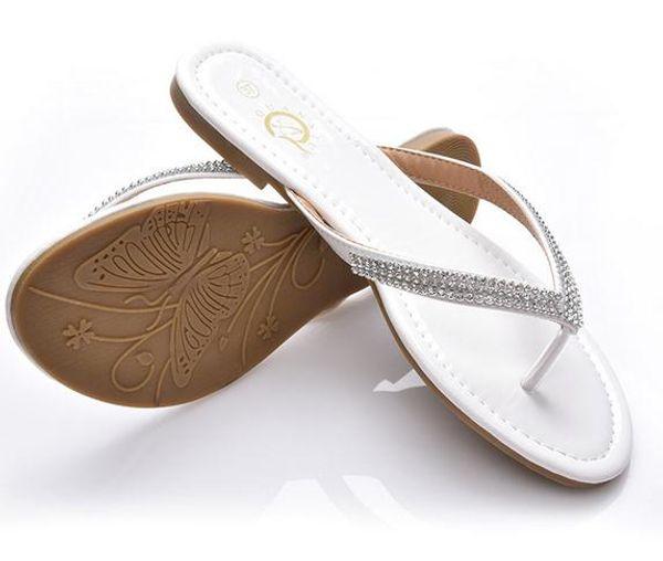 Moda para mujer sandalias planas zapatillas dama adolescente de gran tamaño de cuero de verano Rhinestone T-Strap Flip Flops zapatos negro blanco gota envío xd4