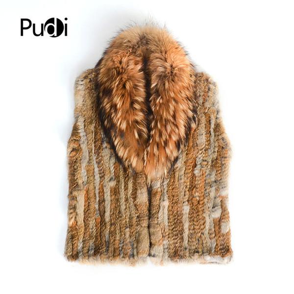 Pudi VT807 The new women vest Real Knitted Rabbit Fur Vest With Pocket Raccoon Fur Collar Waistcoats Women
